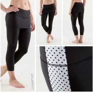Lululemon black reversible crop pants with skirt